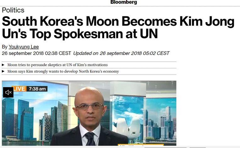 Een artikel van nieuwsagentschap Bloomberg kwam de auteur op kritiek te staan van de Zuid-Koreaanse regeringspartij DP. Beeld