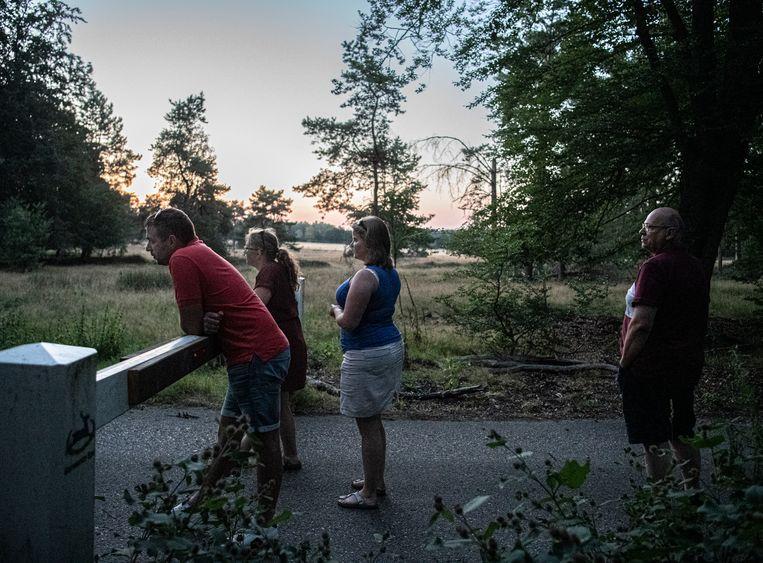 Een familie is op de Veluwe op zoek naar wild in de schemer. Beeld Koen Verheijden