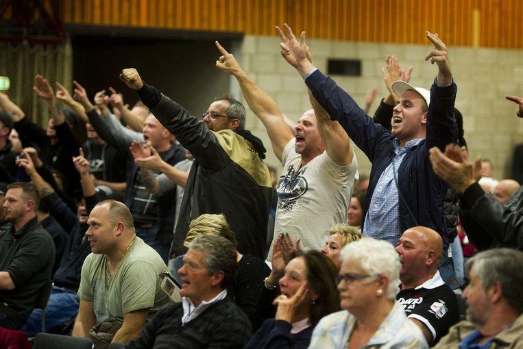 Tegenstanders van de komst van een asielzoekerscentrum naar Steenbergen. Beeld anp
