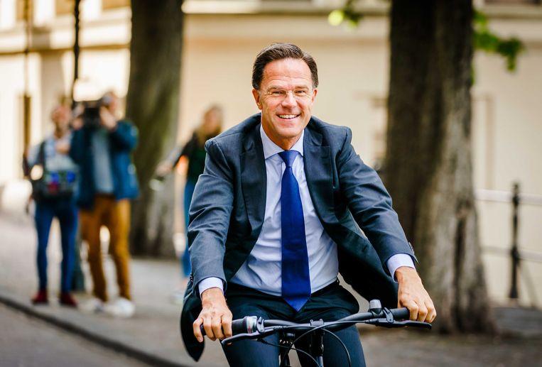 Rutte op weg naar de stembus voor de Europese Verkiezingen. Beeld EPA