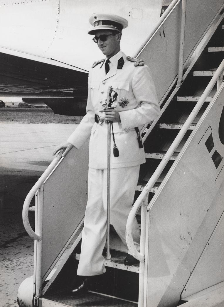 Koning Boudewijn bij aankomst in Congo in 1960. Beeld R. Stalin (Inforcongo), 1960 /Collectie KMMA Tervuren