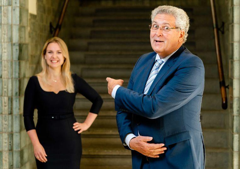 Henk Krol en Kamerlid Femke Merel van Kooten-Arissen. Zij startten samen de Partij voor de Toekomst.  Beeld ANP