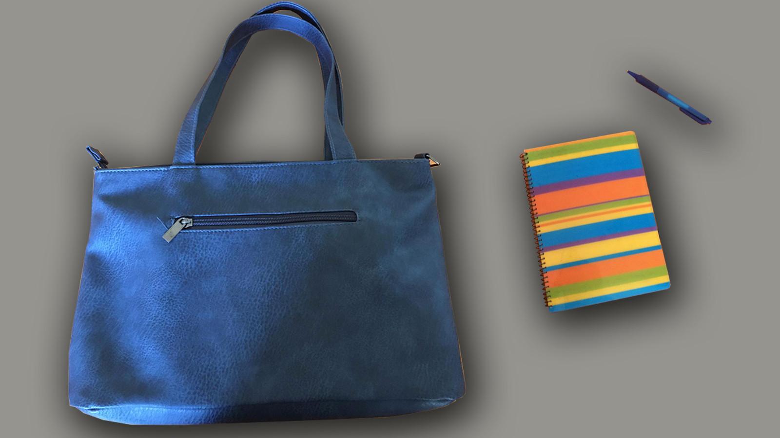Het model van de spoorloze blauwe tas en een dagboek dat lijkt op het gezochte dagboek.