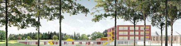 Een simulatiebeeld van hoe de volledig nieuwe school er zou uitzien.