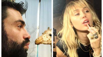 SHOWBITS. Sieg De Doncker kust een giraf en Miley Cyrus werkt haar lippen bij