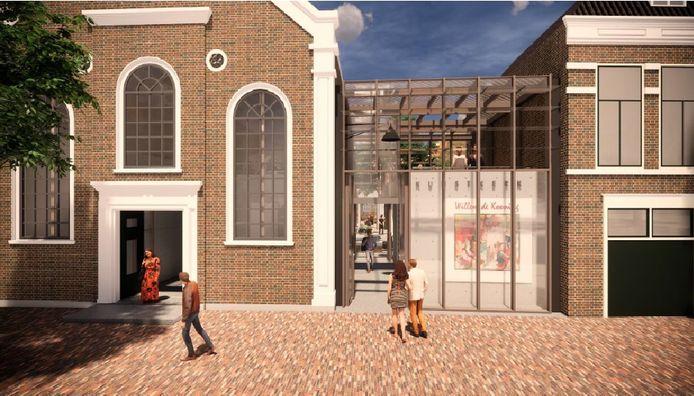 Een impressie van de nieuwe voorgevel van de Kunstkerk.