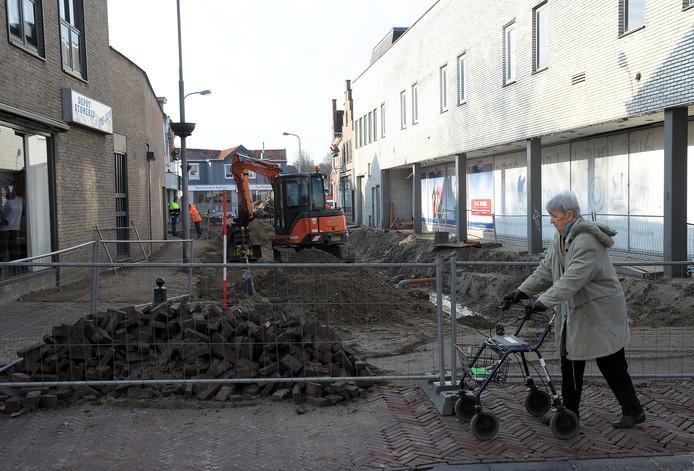 Werkzaamheden in de binnenstad van Hulst.