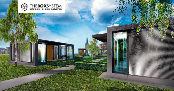 Zo zou het Willibrordus-terrein in Lage Zwaluwe er in de toekomst uit kunnen zien. Een parkachtige omgeving met modulaire woningen. Sfeerimpressie van The Box System.