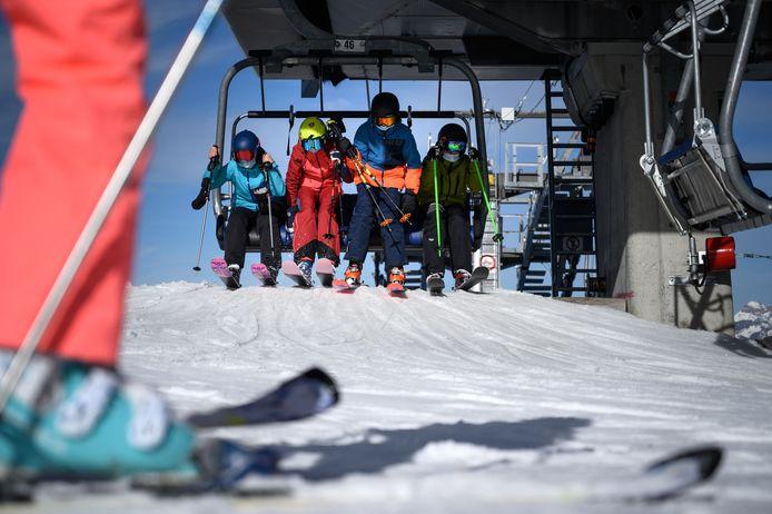 Skiërs in het skiresort Verbier, in het Zwitserse kanton Wallis.