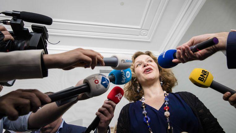 Informateur Edith Schippers staat de pers te woord. Beeld anp