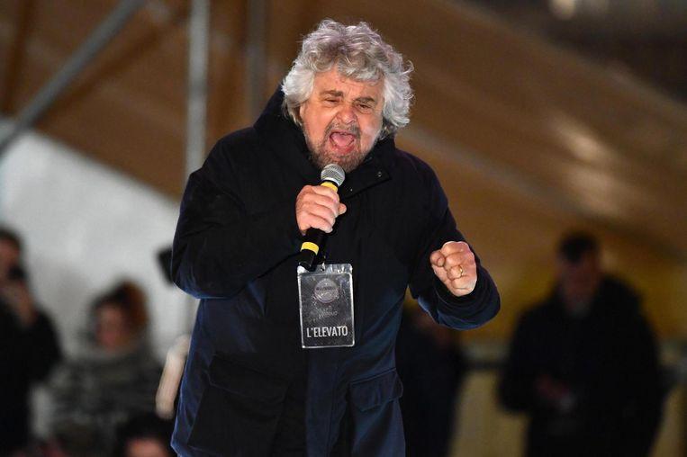 Partijleider van de Vijfsterrenbeweging Beppe Grillo. Beeld anp