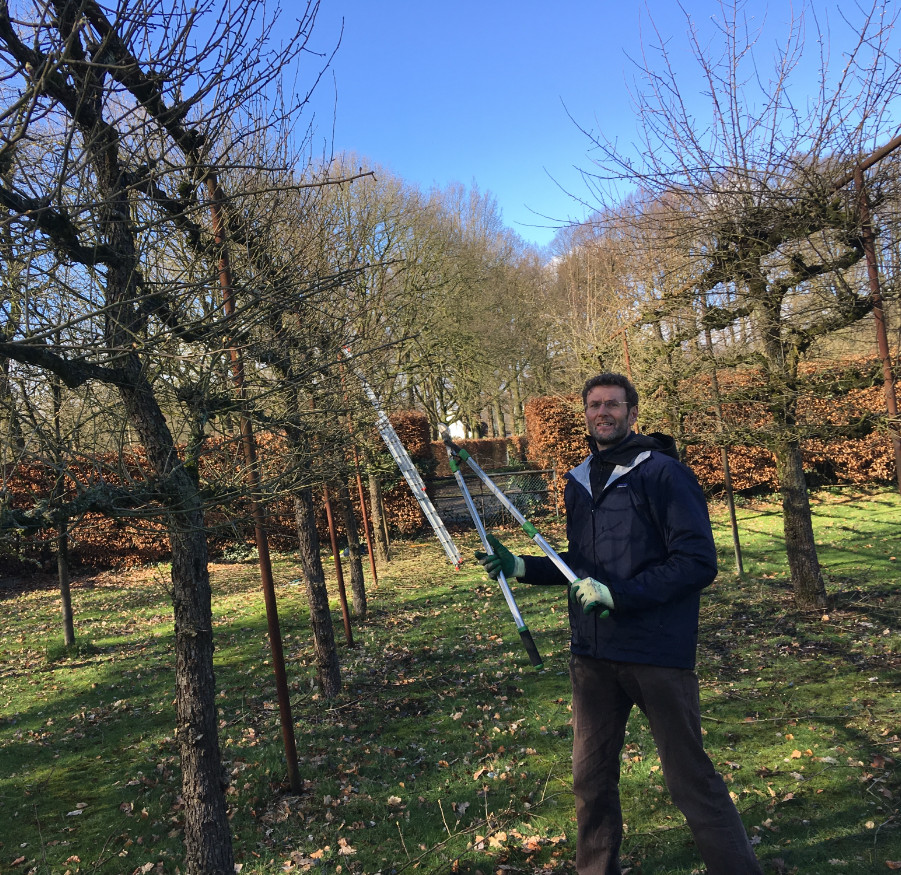 Medewerker Wim Kok van de stichting Trees for Peace aan het werk in de boomgaard.
