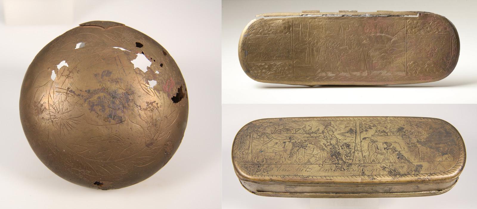 Deze tabaksdoosjes lagen eeuwenlang in scheepswrakken op de bodem van de Zuiderzee. Bij de creatie van Flevoland werden ze gevonden.
