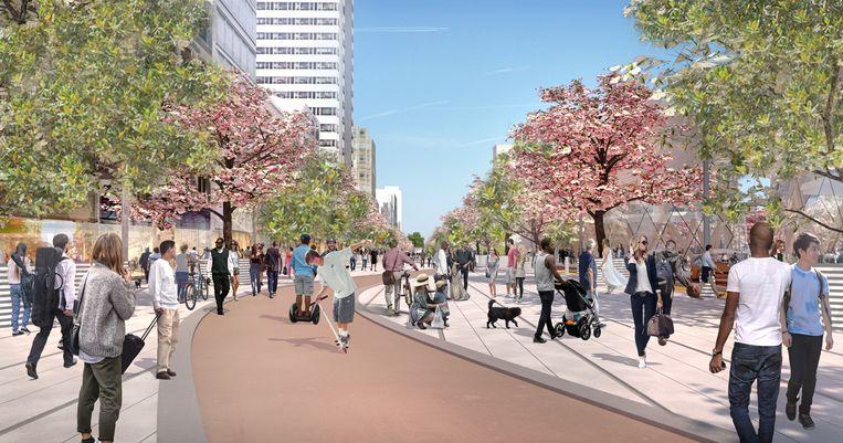 De plannen omvatten onder meer bredere trottoirs.