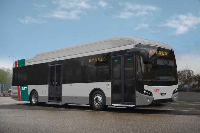 Een hybride bus zoals VDL die levert aan RET.
