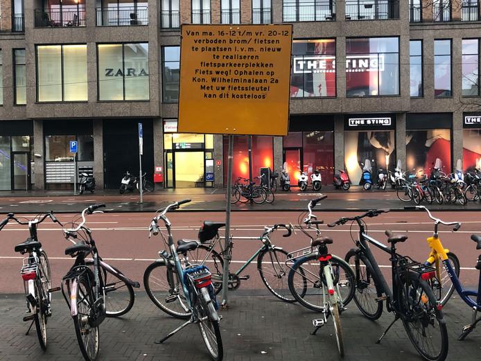 Waarschuwingsbord voor fietsers