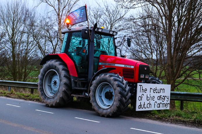 Beeld tijdens een boerenprotest eerder deze week, onder meer gericht tegen dreigende strenge stikstofregels.