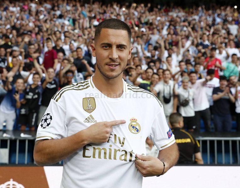 Eden Hazard tijdens zijn voorstelling bij Real Madrid