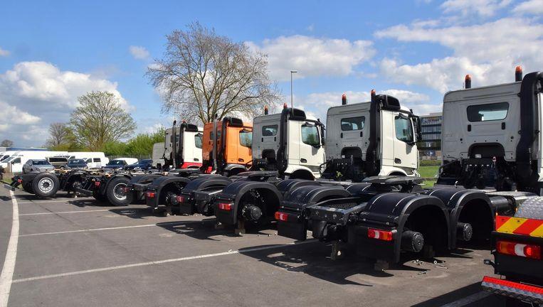 In totaal werden 56 vrachtwagenwielen gestolen.