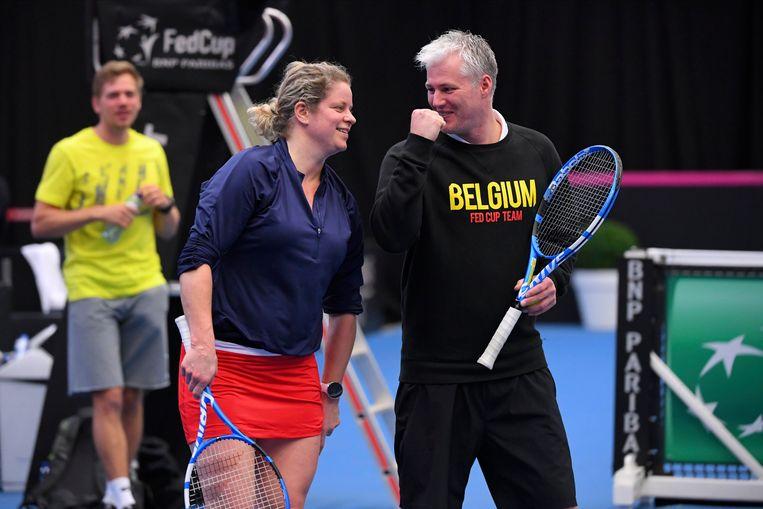 Kim Clijsters en Fed Cup-coach Fred Hemmes
