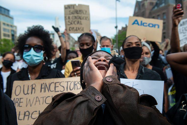 Manifestatie tegen racisme en politiegeweld op de Dam in Amsterdam. Beeld Hollandse Hoogte / Sabine Joosten