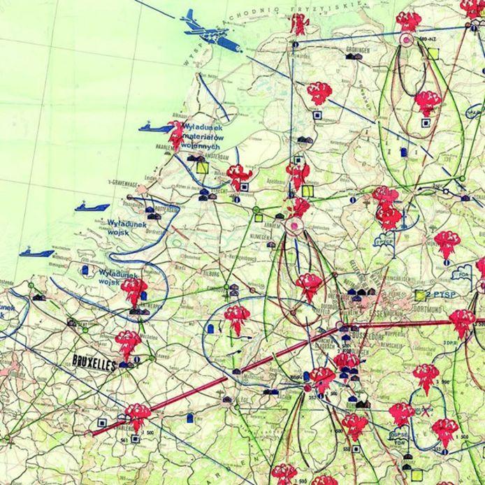 Een kaart uit Polen die te zien is het Nationaal Militair Museum in Soest laat zien waar Polen in de Koude Oorlog van plan was kernbommen te neer te gooien. De kaart werd vermoedelijk gebruikt bij een papieren oefening