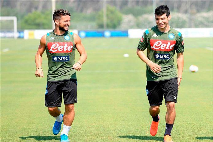 Dries Mertens en Hirving Lozano trainen bij SSC Napoli samen.