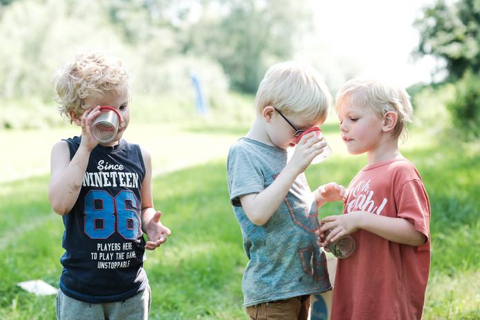Kinderen bekijken kleine beestjes onder een vergrootglas in de Koppenwaard in Latthum.