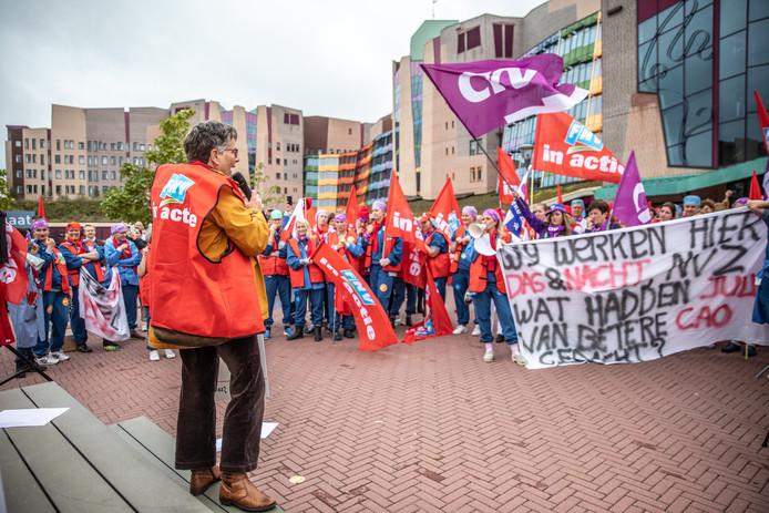 Bij Isala Klinieken in Zwolle werd op 8 oktober al geprotesteerd voor een betere cao.