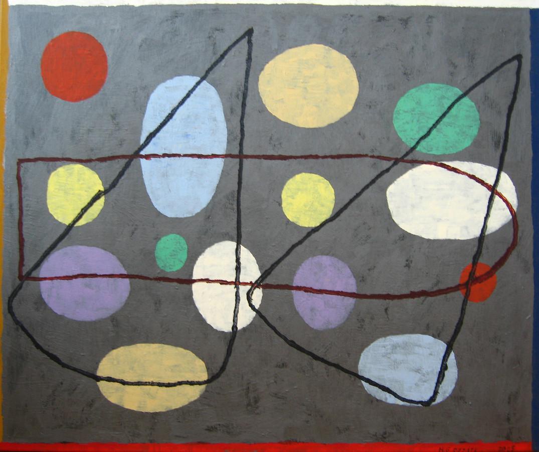 Harrie Gerritz, Buitenaards, olieverf op linnen 100 x 120 cm.