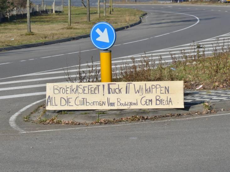 Inwoner Breda plaatst boze tekst midden op Rijsbergseweg