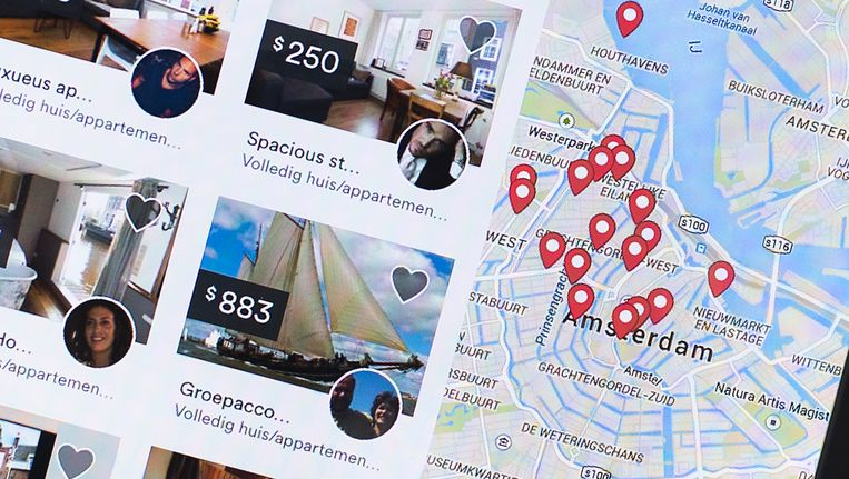 Amsterdamse woningen die via Airbnb worden verhuurd. Beeld ANP