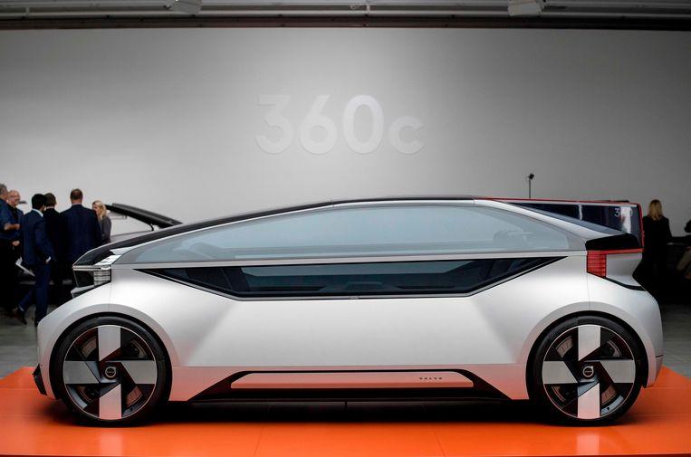 De Volvo 360c, een zelfrijdende concept car van Volvo, bij de voorstelling op 5 september 2018.