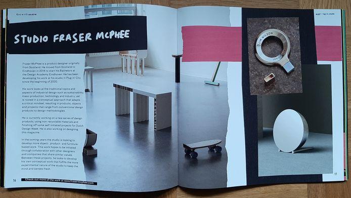 De pagina over ontwerper Studio Fraser McPhee in het  Plug-in-City Magazine, van de deelnemers aan het circulaire living lab op Strijp-S in Eindhoven.