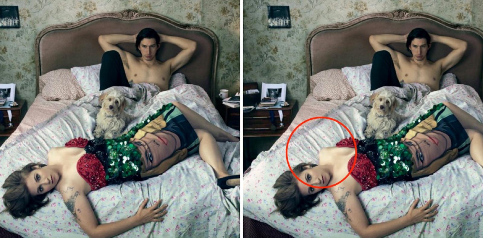Op een van de foto's in het blad mist de actrice een arm.