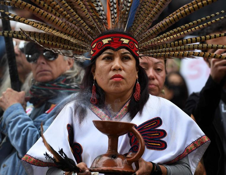 Standing Rock Sioux-demonstrant bij protest in Los Angeles tegen de Dakota Pipeline. Beeld anp