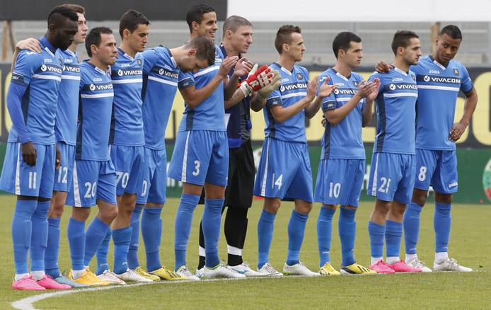 Jeremy de Nooijer (uiterst rechts) met het elftal van Levski Sofia.