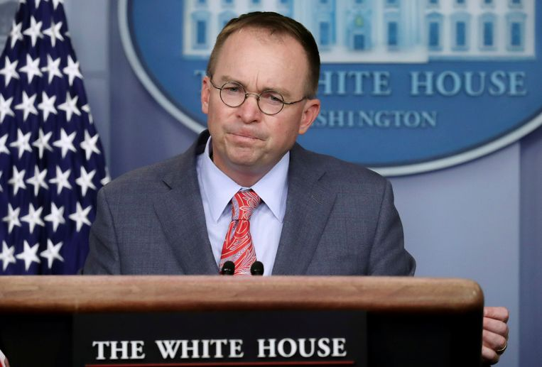 Mick Mulvaney, de stafchef van Trump, donderdag tijdens een persconferentie van het Witte Huis.
