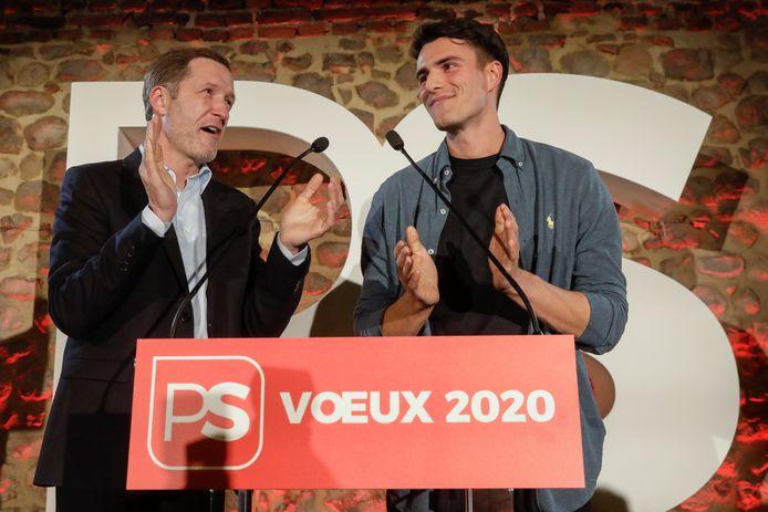 """Bouchez invite le sp.a de Conner Rousseau (ici à côté de Paul Magnette) à """"clarifier sa ligne""""."""