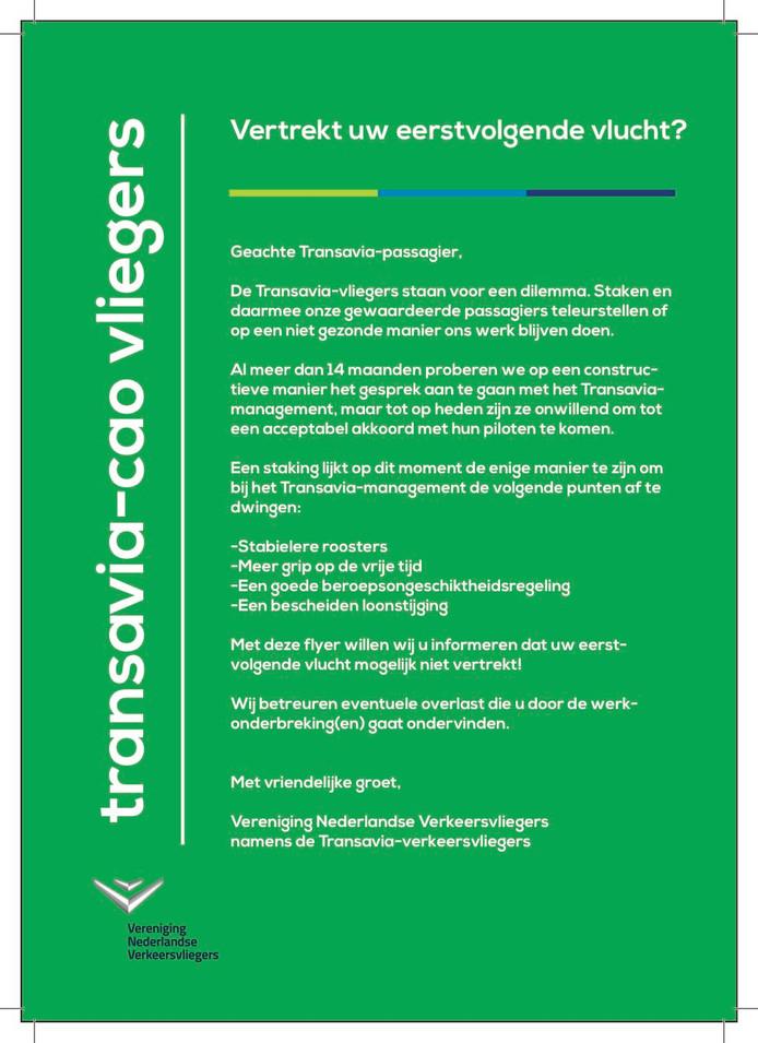 De VNV deelde vandaag flyers uit op Eindhoven Airport, Schiphol en Rotterdam/The Hague.