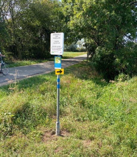 Nieuwe wandelroute in Leuth: wel een bord, maar nog geen pad
