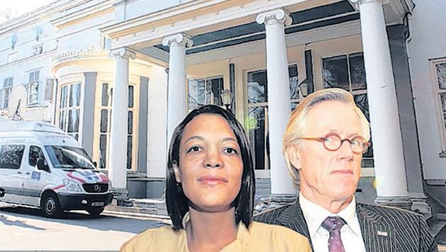 Raadslid Van de Velde (links) en wethouder De Greef voor het stadhuis van Wassenaar.
