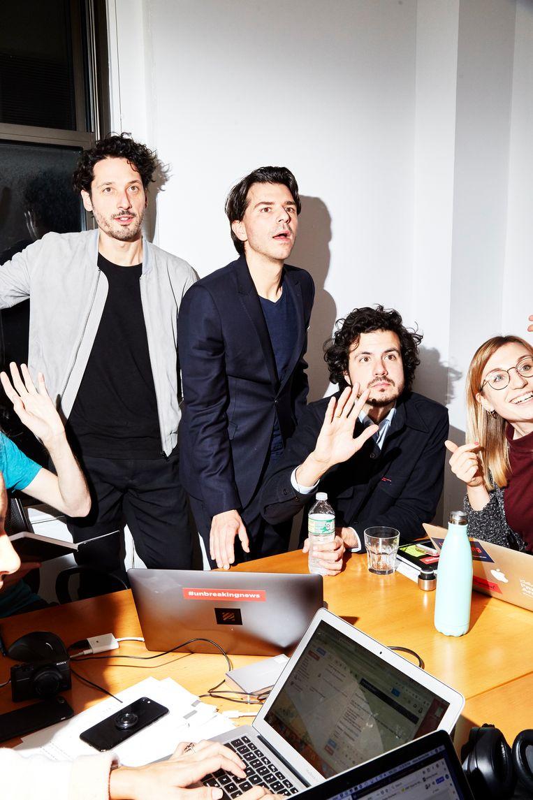 Dunnink, Wijnberg en Pfauth op hun kantoor in Manhattan. Beeld Amy Lombard