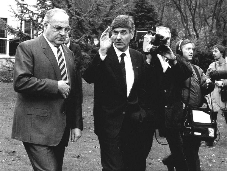 Met Helmut Kohl (links) boterde het niet. Hier in de tuin van het Catshuis, 1987. Beeld ANP