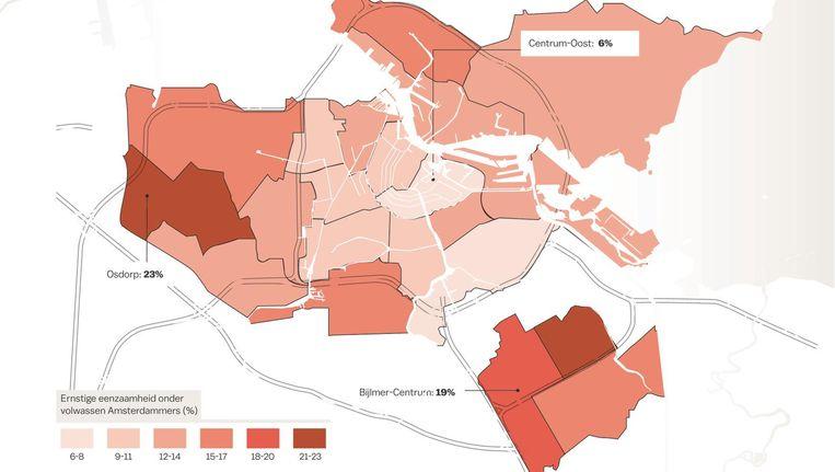 Ernstige eenzaamheid onder volwassen in Amsterdam per wijk Beeld Laura van der Bijl