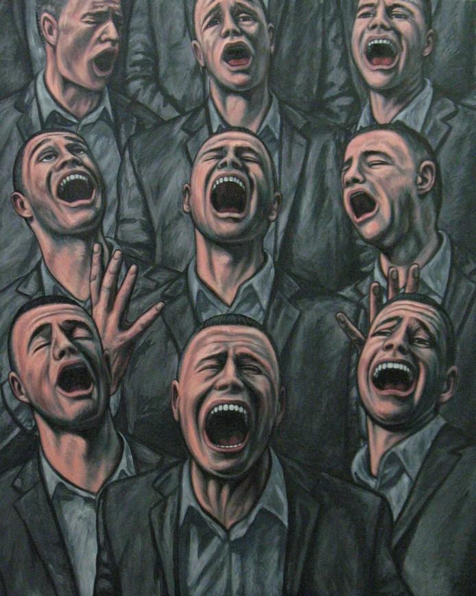 Schilderij 'Het koor', met zangers die de letter A zingen, van kunstenaar Erik Suidman.