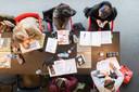 Studenten aan het blokken voor het examen in bibliotheek de Nieuwe Veste inn Breda.