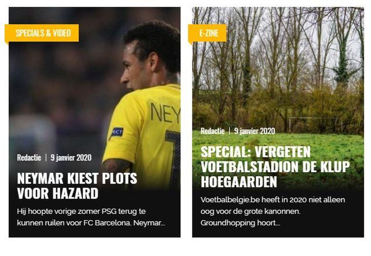 Een beeld van de website voetbalbelgie.be. Daar worden groten uit het voetbal naast de kleineren gezet.