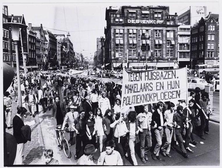 Protest tegen de woningnood, 1970. Van der Laan koesterde het recht op demonstreren Beeld ANEFO