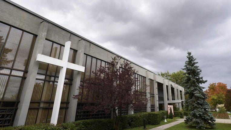 De gevel van het Ecumenical Center In Genève, Zwitserland, waar de Nobelprijzen worden uitgereikt. Beeld ANP